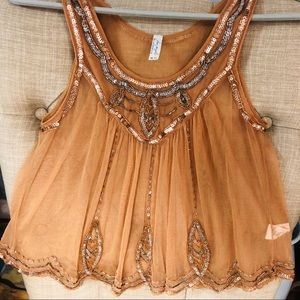 Free People sequin & beads babydoll tank